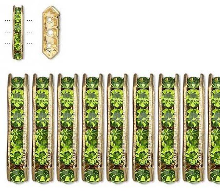 28 Gold-finished Bead 28 Brass and Rhinestone, Peridot Green, 16x5mm 3-strand