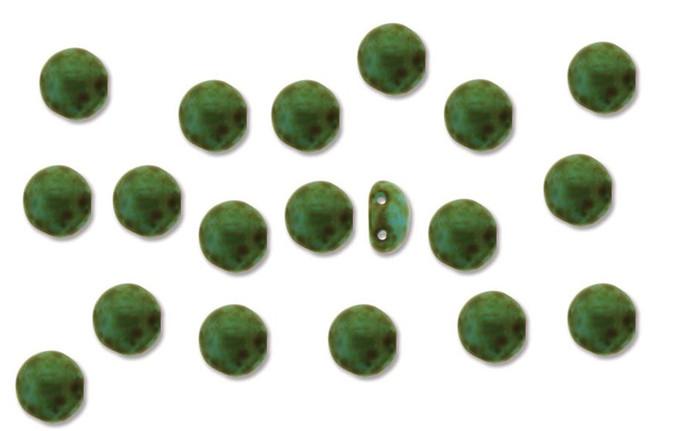Lt Blue Travertne Preciosa Czech Glass Candy Beads 8mm 2-Hole Cabachon