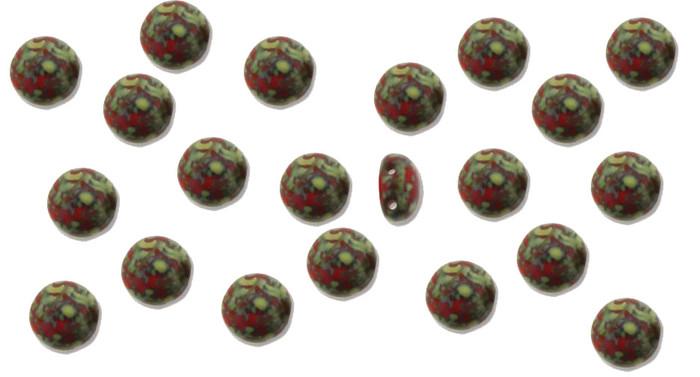 Red Travertine Preciosa Czech Glass Candy Beads 8mm 2-Hole Cabachon