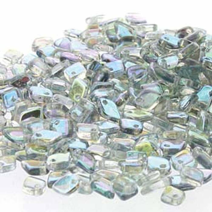 Crystal Blue Rainbow Czech Glass Dragon Scale Bead 1 5x5mm 9 5 Grams