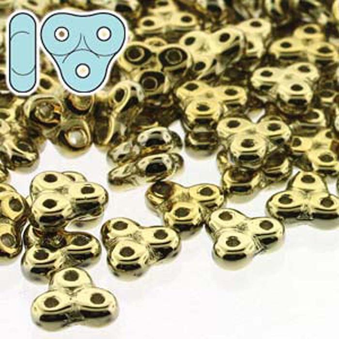Full Amber 6mm Trinity 3-hole Czech Glass Beads 8 Grams