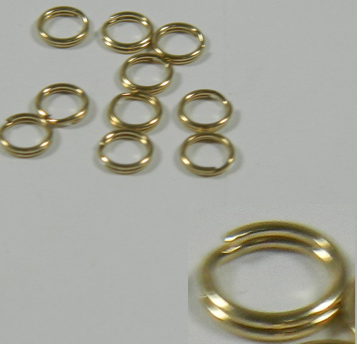 10 Split Ring, 14kt Gold-filled, 4.5mm Round, 24 Guage Wire. Sold Per Pkg of 10.
