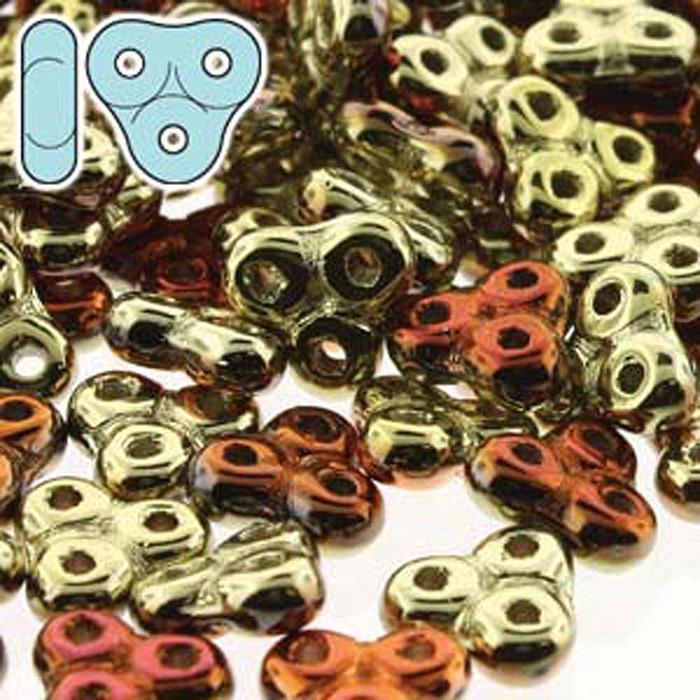 Cali Gold Rush Trinity 3-hole Czech Glass Beads 8x8mm 8 Grams