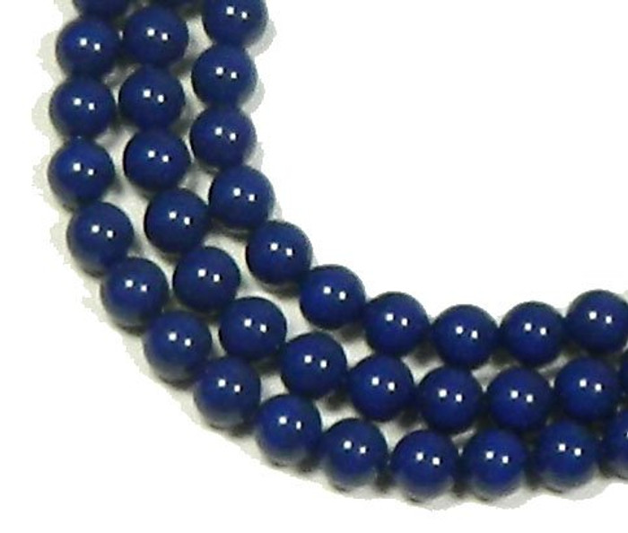 "100 Swarovski Crystal Pearls 4mm Round Beads 5810. 16"" Loose Strand Dark Lapis"