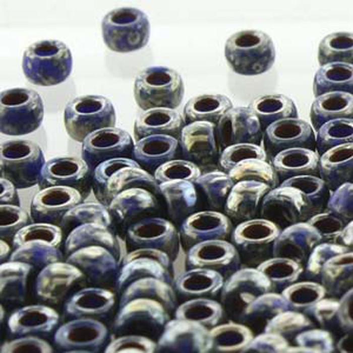 Matubo Czech Glass Seed Beads 7/0 (3.5mm) 50 Grams 1.5mm Hole (Blue Picasso Op)