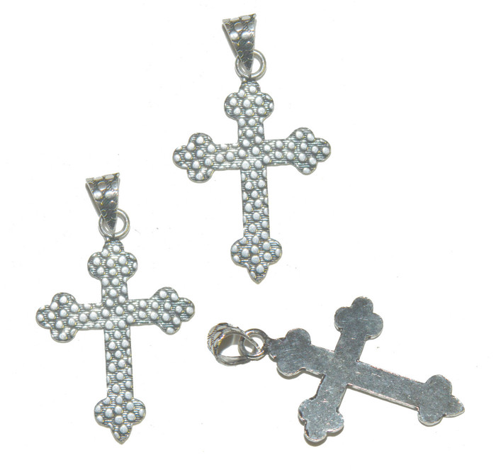 3 Cross Pendants With Bail Antique Silver Plated Copper 39x29mm