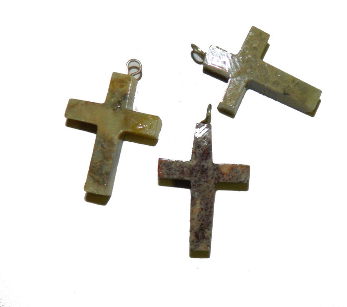 3 Hand Carved Soap Stone Cross Pendants With Loop 30x20mm