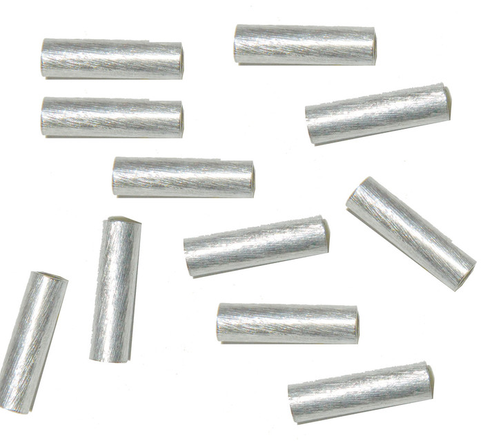 15mm Strait Obround Tube Beads Silver Plated Copper 24 Pcs
