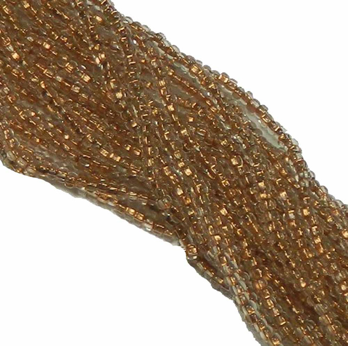 Crystal Clear Copper Lined Czech 8/0 Glass Seed Beads 12 Strand Hank Preciosa
