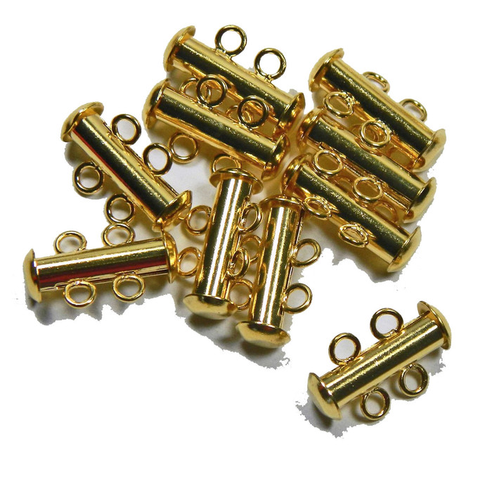 10 Pack Multi 2 Strand Slide Lock Clasps Gold Plated Brass
