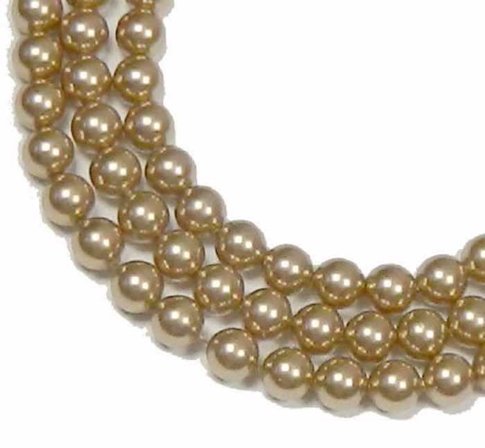 "100 Swarovski Crystal Pearls 4mm Round Beads 5810. 16"" Loose Strand Bronze"