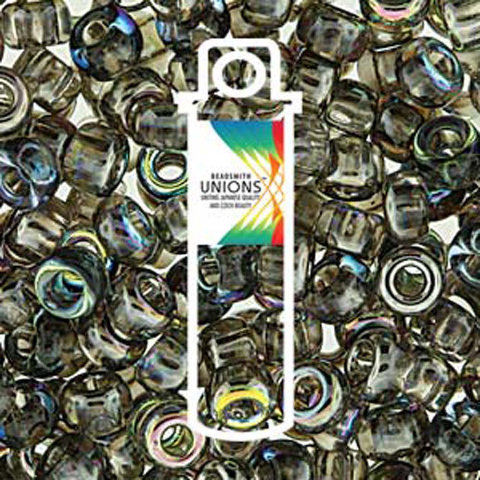 Crystal Graphite Rainbow Unions 8/0 Seed Beads Round Rocailles 22 Grams