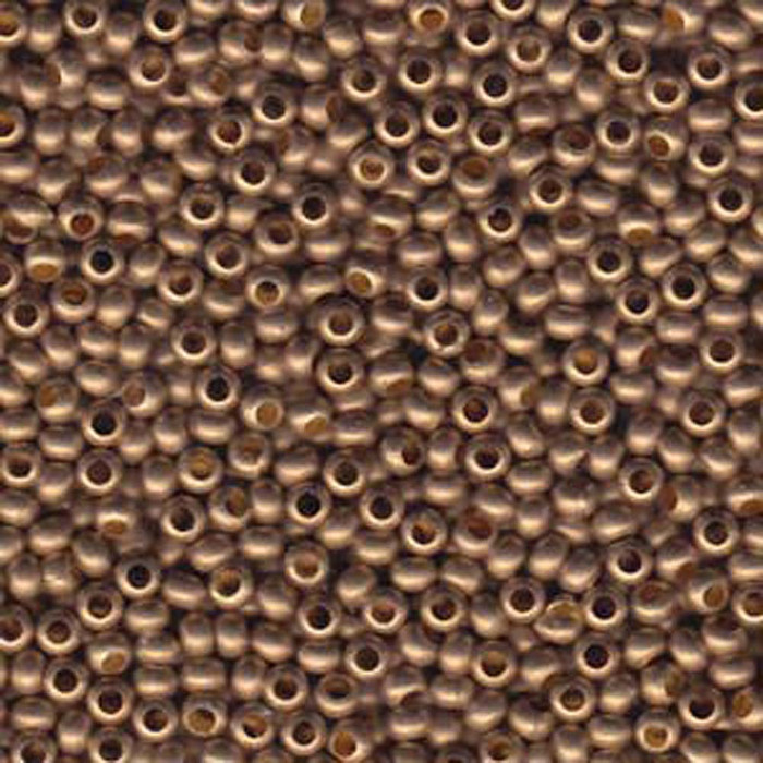 Genuine Metal Seed Beads 8/0 Matte Gilding Metal 36 Grams