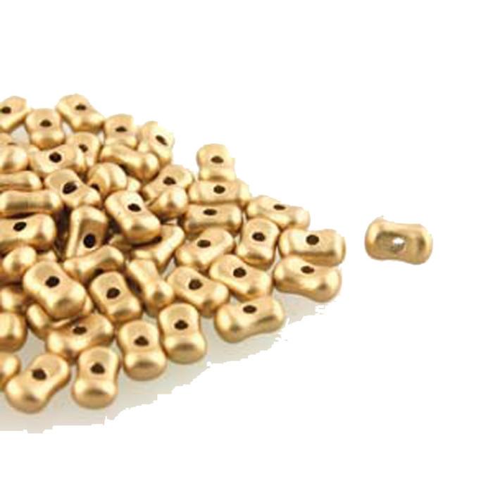 Pale Gold Farfalli 3.2x6.4mm Peanut Czech Glass Beads 19 grams