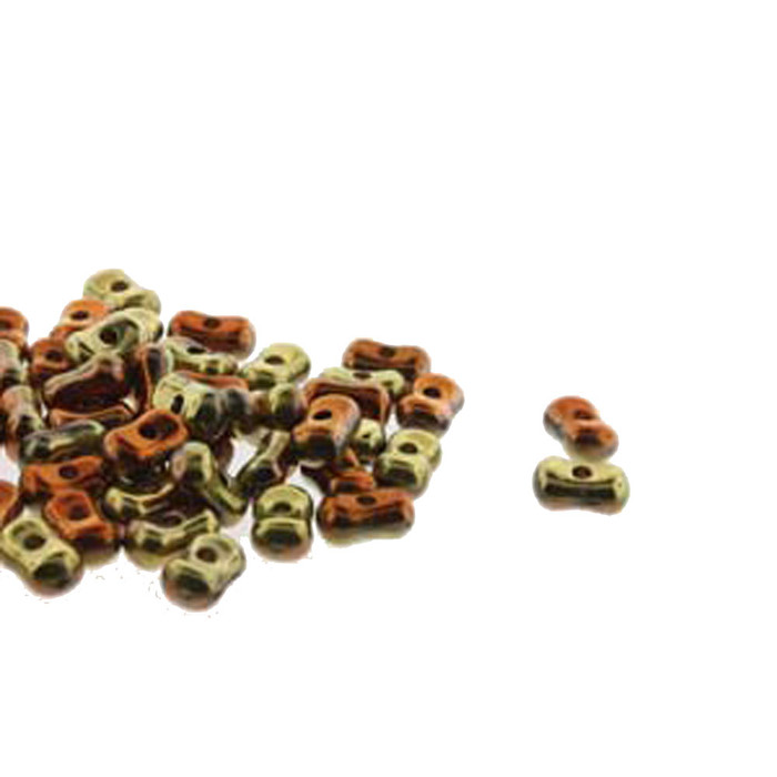 Calif Gold Rush Farfalli 3.2x6.4mm Peanut Czech Glass Beads 19 grams