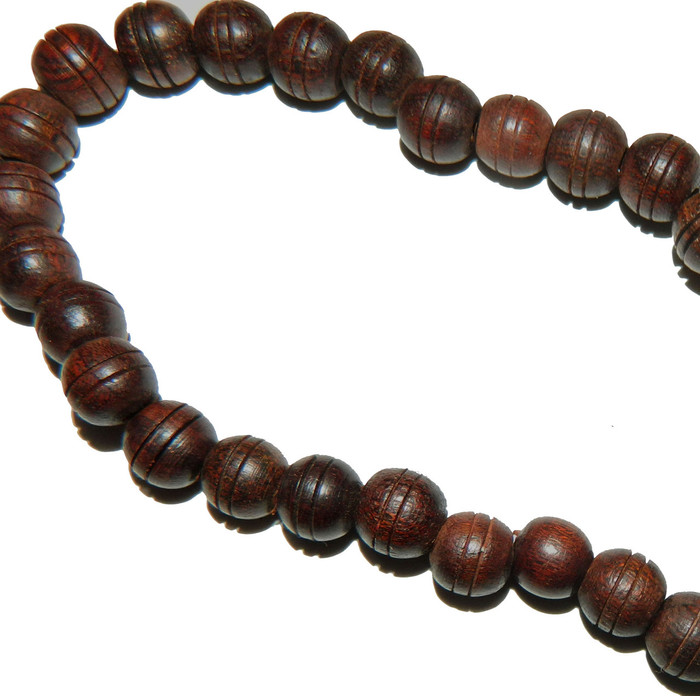 """10mm Round Hand Carved Wood Beads 15"""" Strand 3mm Hole"""