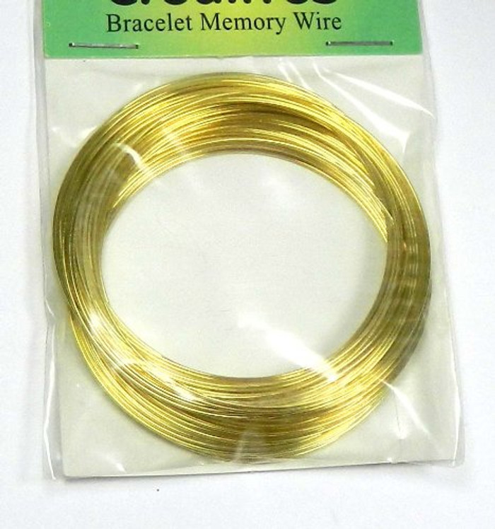 Memory Wire, Gold-finished Stainless Steel, 2-1/4 Inch Bracelet 0.60-0.75mm Thick. Sold Per 1-ounce Pkg, Approximately 75 Loops.