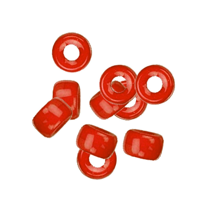 Orange Red Opaque 10pc Czech Glass Macrame & Leather Crow Beads 9x4mm 3mm Hole