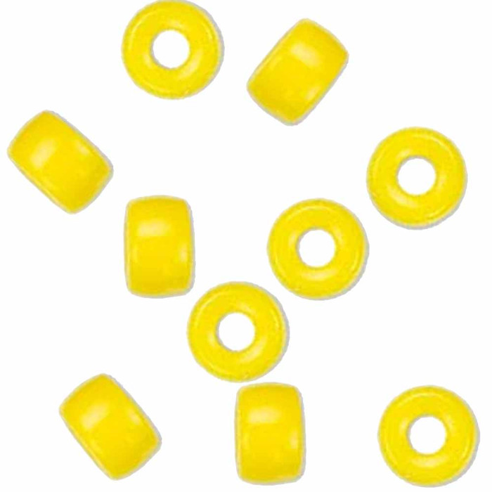 Yellow Opaque 10pc Czech Glass Macrame & Leather Crow Beads 9x4mm 3mm Hole