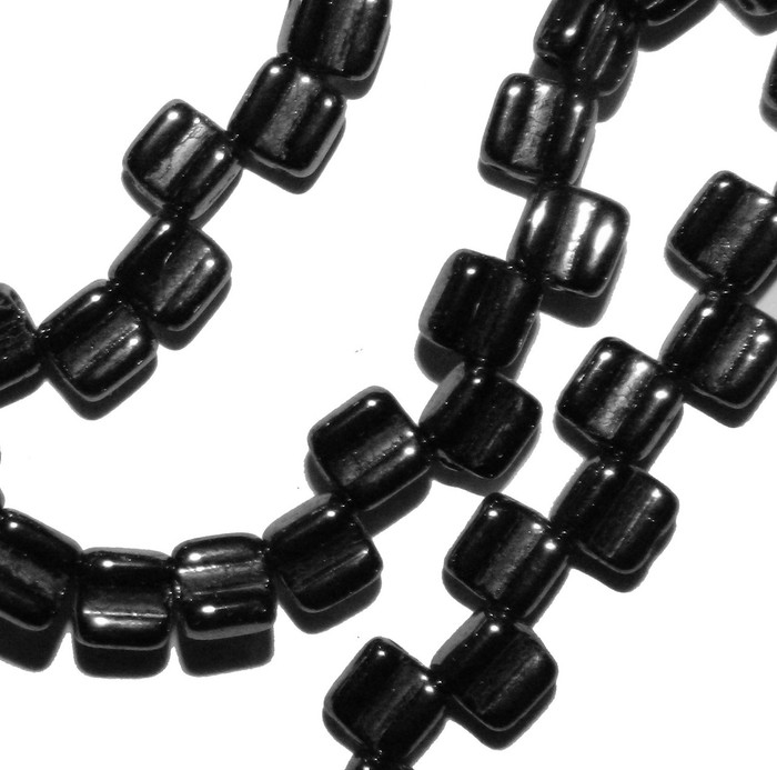 Groovy 6mm Czchmate Glass Czech Two Hole Black Hematite Gold 40 Beads