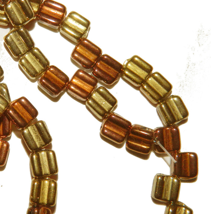 Groovy 6mm Czchmate Glass Czech Two Hole Black Californa Gold 40 Beads