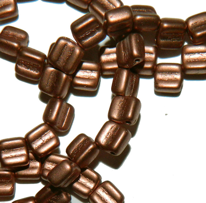 Groovy 6mm Czchmate Glass Czech Two Hole Bronze Copper 40 Beads