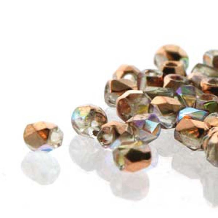 Fire Polish True2s 2mm Czech Glass Copper Rnbw 2 Grams 180 beads
