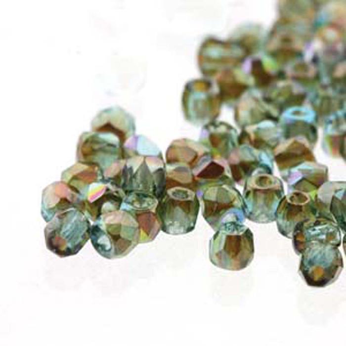 Fire Polish True2s 2mm Czech Glass Aqua Orange Rnbw 2 Grams 180 beads