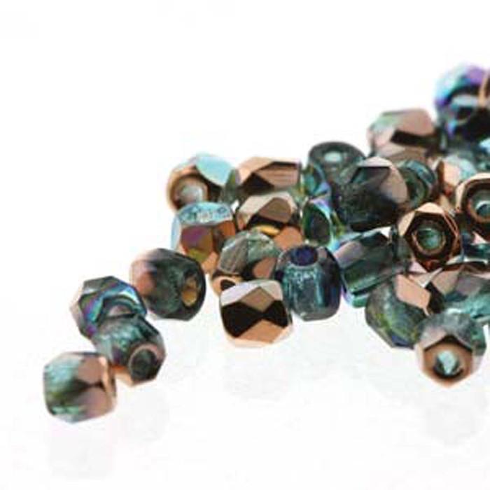 Fire Polish True2s 2mm Czech Glass Aqua Copper Rainbow 600 Bg
