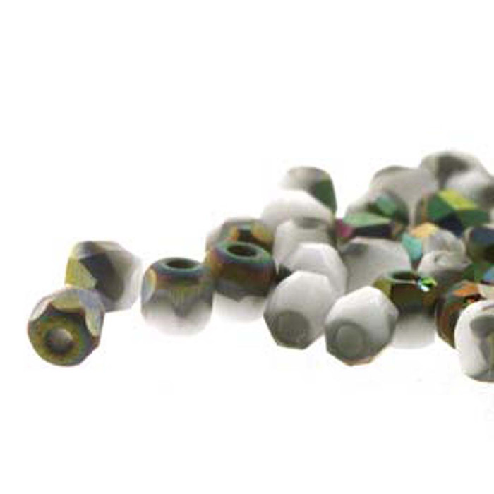 Fire Polish True2s 2mm Czech Glass Chalk Wht Vitrail Matt- 600 Beads-Loose