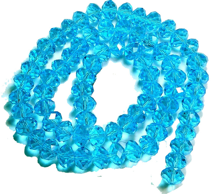 Aqua Faceted 6mm Rondelle Beads 90 Piece Luster Glass Crystal Beads