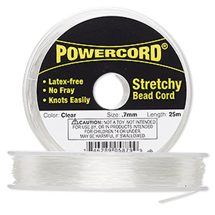 Powercord® Elastic Stretch Cord Clear 0.7mm 7-lb Test 25-Meter Latex-Free