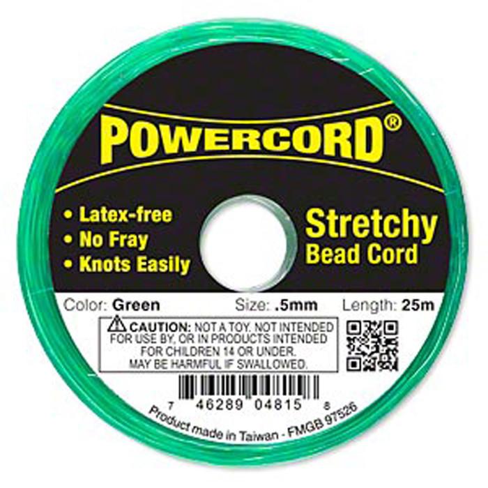 Powercord® Elastic Stretch Cord Green 0.5mm 4-lb Test 25-Meter Latex-Free