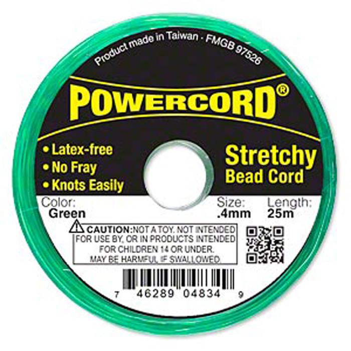 Powercord® Elastic Stretch Cord Green 0.4mm 3.5-lb Test 25-Meter Latex-Free