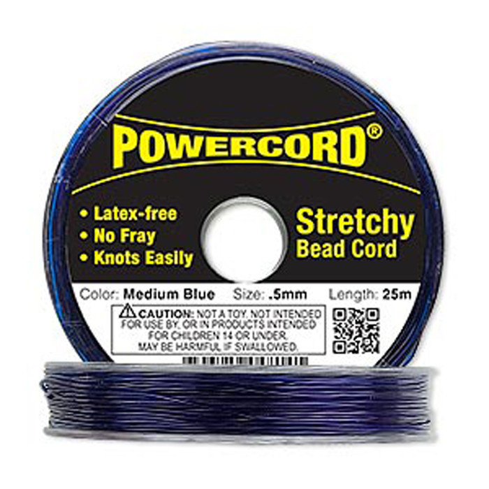 Powercord® Elastic Stretch Cord Blue 0.5mm 4-lb Test 25-Meter Latex-Free