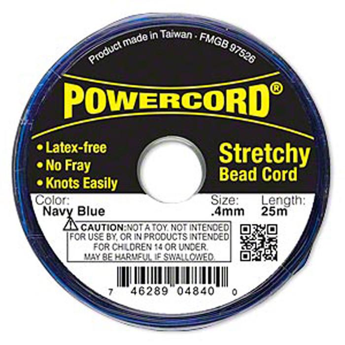 Powercord® Elastic Stretch Cord Navy Blue 0.4mm 3.5-lb Test 25-Meter Latex-Free