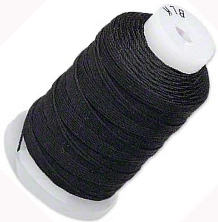 Silk Beading Thread Cord Size FF Black 0.015 Inch 0.38mm Spool 115 Yd