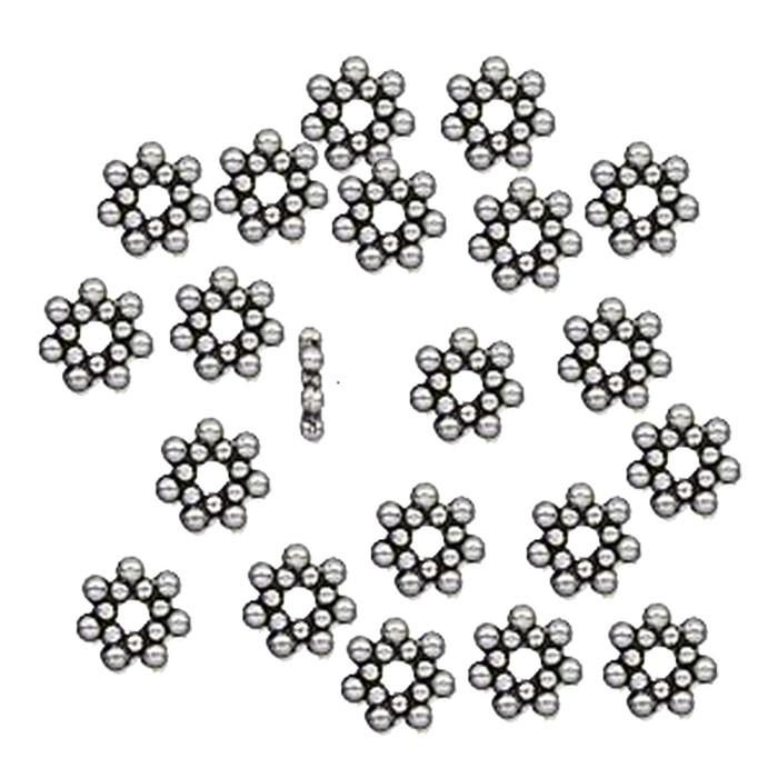 100 6x1.4mm Flower Rondelle Daisy Beads Antiqued Silver Cast Pewter Metal Beads