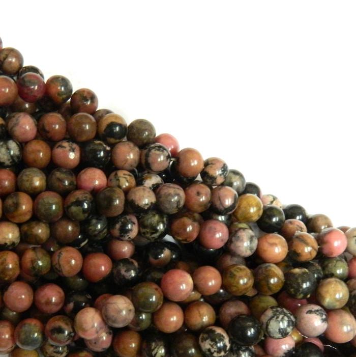 Rhodonite 6mm Natural Gemstone Rondelle Beads 15 Inch Loose