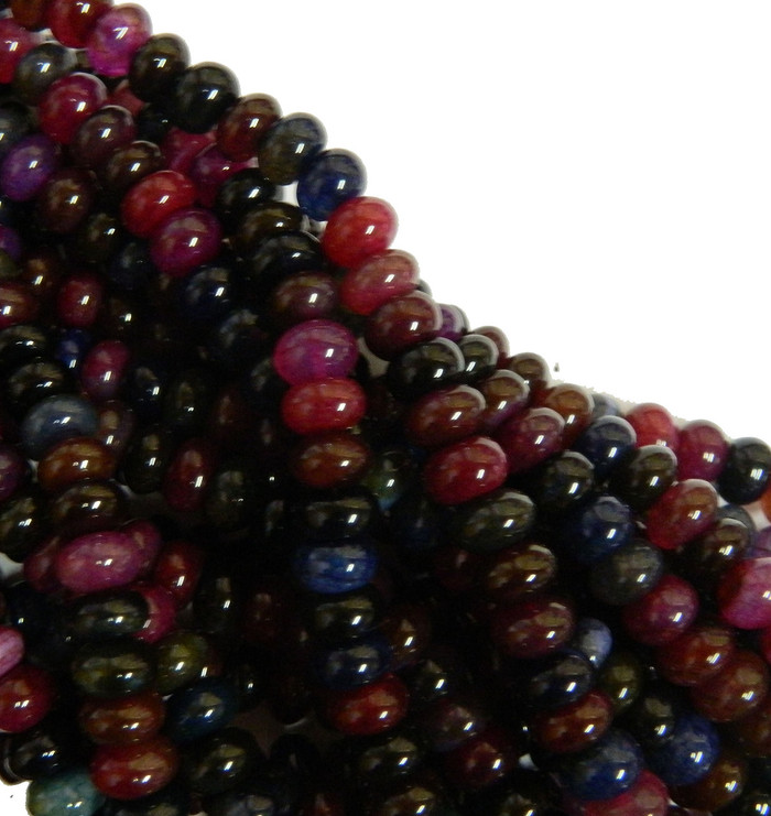 10mm Tourmaline Agate Gemstone Rondelle Beads 15 Inch Loose