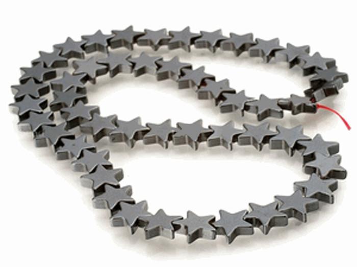 6mm Hematite Manmade Star Beads 15 inch Loose Srand