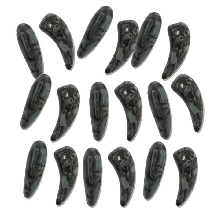 Jet Pisasso Tooth Glass Czech Beads 6x16mm 22 Piece Strand