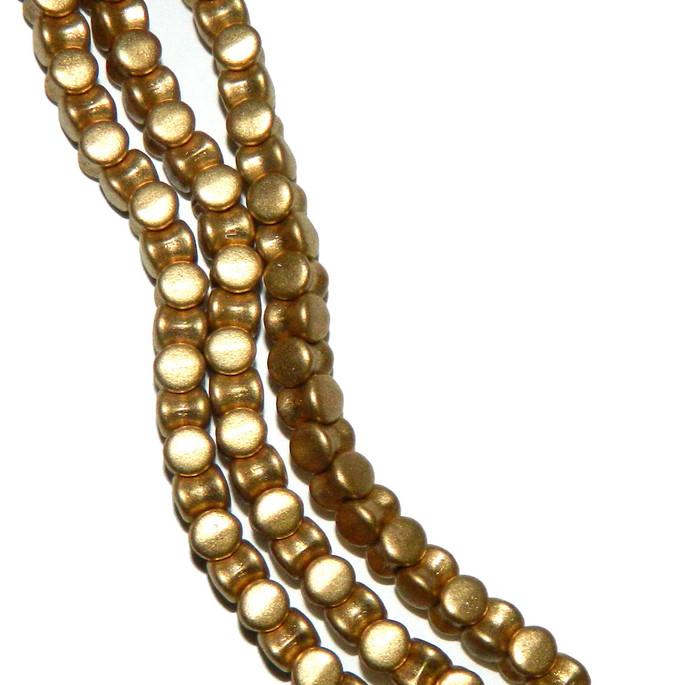 Matte Gold Matte Preciosa Czech Glass 4x6mm Pellet 30 Beads