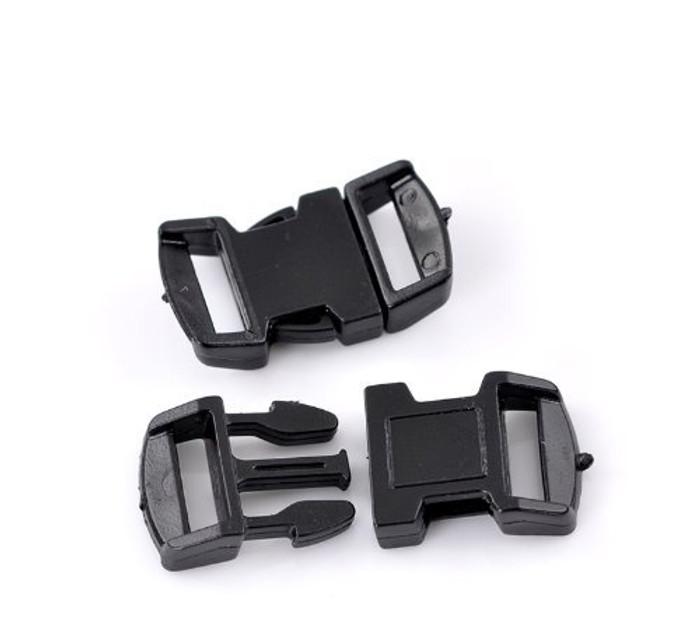 """10 Sets Black Para Cord Survival Bracelets Plastic Buckle 1 1/8""""x 5/8"""" Findings"""