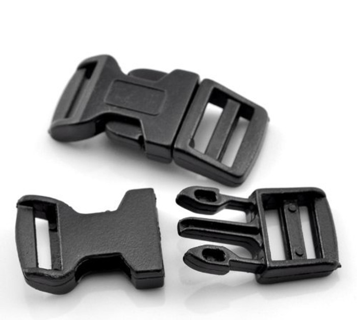 "10 Sets Black for 550 Para Cord Survival Bracelet Plastic Buckle 1 6/8""x7/8"" Findings"