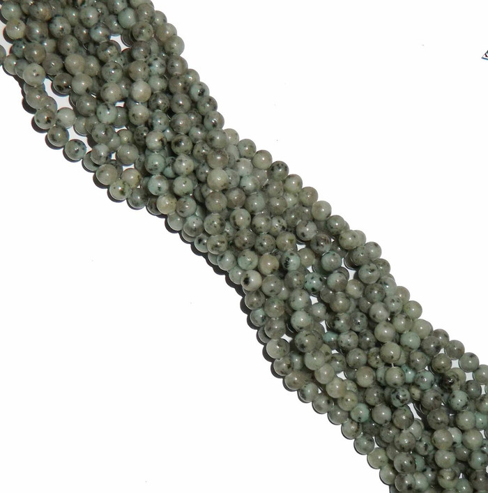 6mm Kiwi Sesame Jasper Natural Gemstone Round Beads 15 inch loose Strand