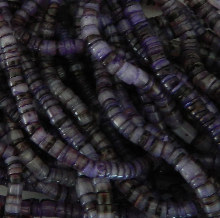4-5mm Mother of Pearl Beads 24 Inch Loose Strand Purple Hammer Shell Heishi