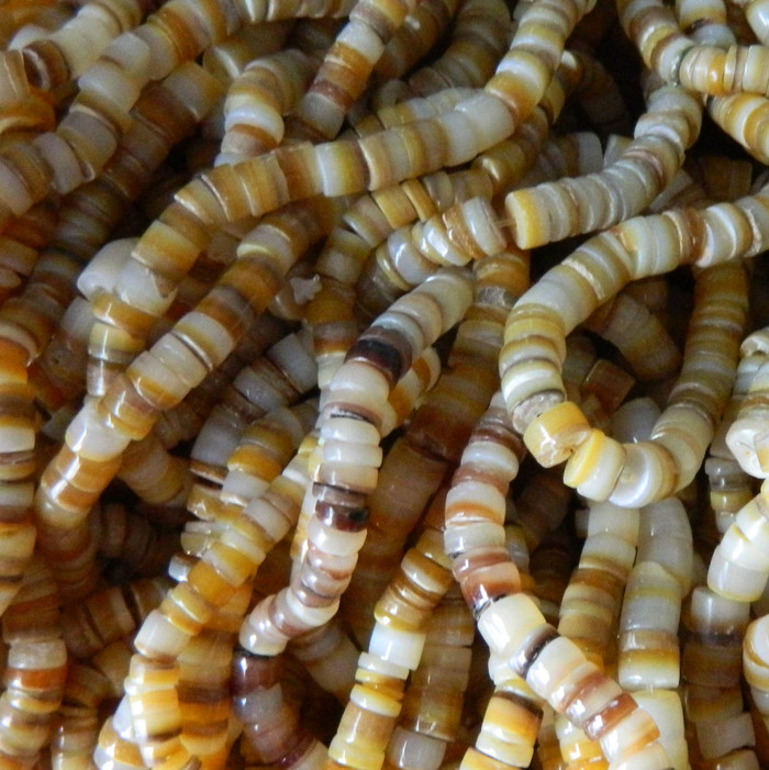 4-5mm or 5-6mmvMother of Pearl Beads 15 Inch Loose Strand Gold Lip Shell Heishi