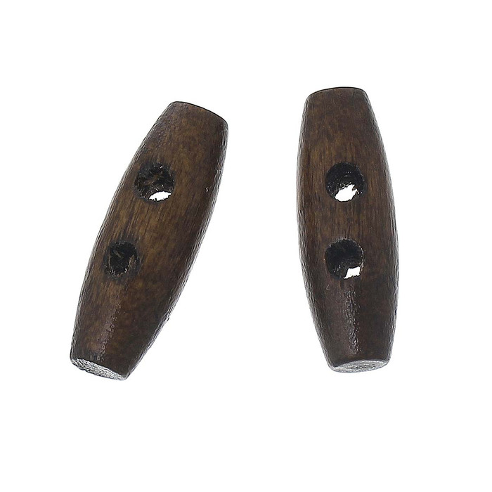 100 Small Wood Toggle Buttons 3/4 x 1/4 Inch Stained Walnut