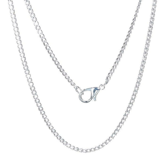 12 Pack Silver Plated 2.3mm Curb Chain Necklace 18 Inch